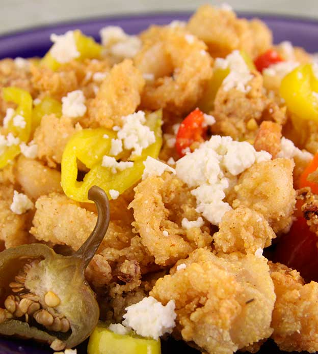FRIED CALAMARI WITH PEPPERS AND FETA
